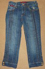 Womens Juniors BABY PHAT Denim Jeans CAPRIS Size 5 Cropped Pants Gold Decor