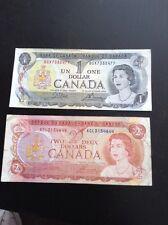 Canada 1973 $1 Bill & 1974 $2 Bill