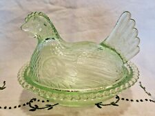 "New Listing Rare Pastel Light Green"" Hen On Nest"" Indiana Glass Dish ""Mint"""
