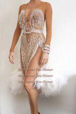 U6366 Feather Fur Women Ballroom Latin salsa dance Competition dress Custom made