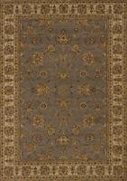 Blue Traditional Oriental Carpet Floral Scrolls Leaves Bordered Olefin Area Rug