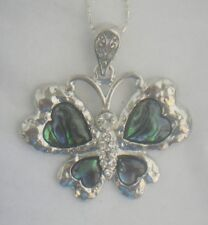 Necklace/Pendant Butterfly Abalone Shell new chain & box rhinestone heart wings