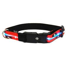 "Visiglo Flashing Dog Collar Red ""Paws"" Design Medium plus FREE Spare Batteries"