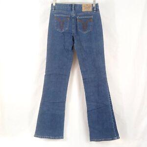 Roxy Vintage Jeans Juniors Size 1 Boot Cut Blue Cotton Denim Stretch