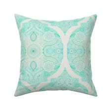 Moroccan Doodle Mint Green Throw Pillow Cover w Optional Insert by Roostery