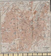 1925 GERMAN MAP ~ STUTTGART CITY PLAN ENVIRONS HOSPITALS GARDENS STATIONS