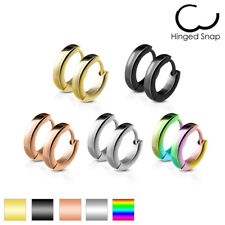 Mens / Ladies Surgical Steel IP Huggie Style Hoop Hinged Earrings