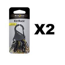 Nite Ize S-Biner KeyRack Black w/Camo Biners Keychain Carabiner Key Ring(2-Pack)