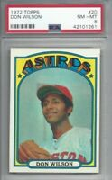 1972 Topps baseball card #20 Don Wilson, Houston Astros graded PSA 8