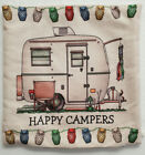 """Happy Campers Pillow Cover Soft Taupe Canvas Retro RV Glamper Decor 16"""" x 16"""""""