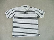 Ralph Lauren Polo Shirt Adult 2XL XXL White Blue Pony Striped Rugby Men A63*