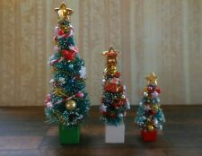More details for 1:12 dolls house miniature: 3x mixed size decorated traditional christmas trees