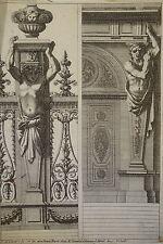 GRAVURE XVII° CARIATIDE BAROQUE ORNEMENT LOUIS XIV JEAN LE PAUTRE 1618-1682 c
