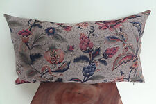 Decorative Pillow Cover Beautiful Old Tapestry Pattern Navy Blue Beige Grey Red