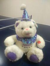 "Lovely purple musical birthday Bear.Cuddly Soft Stuffed Plush Teddy Bear15""x10"""