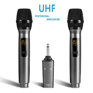 Pro UHF Wireless Dual Handheld Microphone System Set Rechargeable Karaoke Church