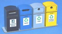 1:32 Scale Bank of 4 Recycle Bins Kit - for Scalextric/Other Static Layouts