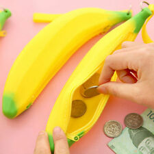 Novelty Banana Silicone Wallet Coin Pen Case Purse Bag Yellow Case Pouch Keyring