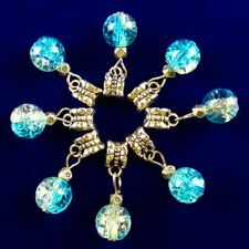 6Pcs Blue Rock Crystal Ball Tibetan Silver Big Hole Pendant Bead M57261