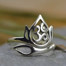 Openwork Lotus and Om Ohm Adjustable Finger Yoga Ring - Sterling Silver .925