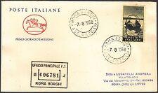 ITALIA BUSTA CAVALLINO POSTE RACCOMANDATA 1958 SEGANTINI ANNULLO ROMA BORGHI FDC