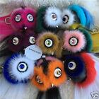 2016 new ! Real Mink fur Monster Owl Bird Crystal bag bugs PomPom Keyring Charm