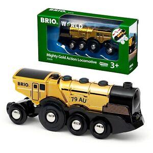 BRIO 63000 - Züge - Goldene Batterie Frachtlok Goldene Batterielok mit Licht und