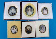 6x Bilder Miniaturen Lupenmalerei auf Bein Portrait Empire Adlige