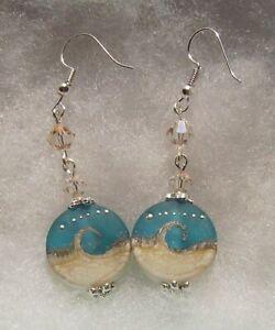 SEA WAVE BEACH LAMPWORK GLASS EARRINGS