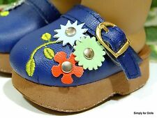 """NAVY BLUE Floral DOLL CLOGS SANDALS SHOES fit 18"""" AMERICAN GIRL Doll Clothes D/Z"""