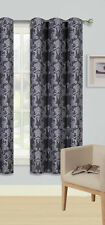 1PC GROMMET PANEL PRINTED LINED BLACKOUT WINDOW CURTAIN MIDNIGHT IN BLACK SILVER