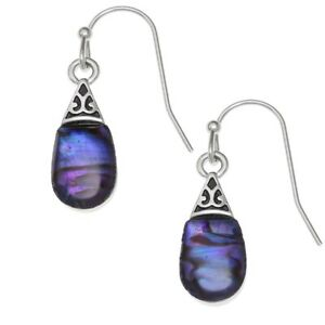 Teardrop Earrings Purple Paua Abalone Shell Jewellery - Gift Boxed / Pouch