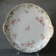 "CH.FIELD HAVILAND LIMOGES - GDA FRANCE 13"" Round Handled Serving Dish Pink Roses"