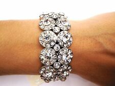 Clear crystal bracelet Silver ballroom latin dance competition Wedding bridal