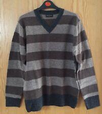 Beautiful Mens Brown Striped Wool Jumper From Burton In Size Medium