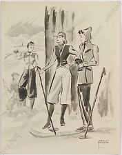 """Winter Sport (Fashion Design)"", by Gret Kalous-Scheffer (1892- 1975), Drawing"