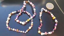 3 Pulseras de perlas multicolores, piedras naturales, abalorios, joyas