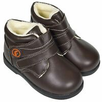 Freycoo Boys Toddler Kids Infant REAL Leather Ankle Boots - Dark Brown Fleecy