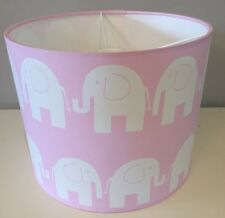 Elephant Lampshade Handmade In Pink And White 20cm Drum, Baby, Nursery