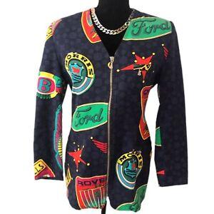 Versace Jeans Authentic Vintage 90s Colorful Graphic Car Print Jacket 28/42 US M