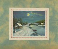 VINTAGE SNOW WINTER HOUSE LANDSCAPE BOAT FULL MOON STREAM LITHO OLD ART PRINT