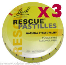 3 x Bach Flower Rescue Remedy Pastilles 50g Tin ::Natural Stress Relief::