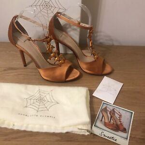 Charlotte Olympia Orange Silk Satin Sweetie Heels UK Size 7 RRP £565.00 With Box