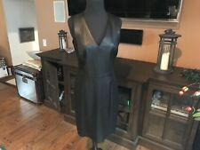 Banana Republic Leather Panel Stretch V Neck Dress sz 6 NWT $298