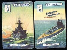 Rare 1940s WWII Royal Navy WARSHIPS SWAP CARDS HMS NELSON, RENOWN.
