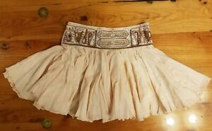 NWT Free People Embroidered Ivory Full Miniskirt With Beads Size: XS