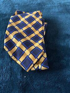 Mens Yellow & Blue Check Silk Tie No Reserve