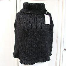 Blunauta Poncho nero cappa lana lurex M S