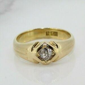 Vintage 18ct Yellow Gold 0.33ct Diamond Single Stone Gypsy Ring (Size J 1/2)
