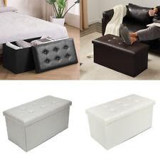 Living Room Rest Stool Folding Storage Ottoman Seat Footstools Box Bench